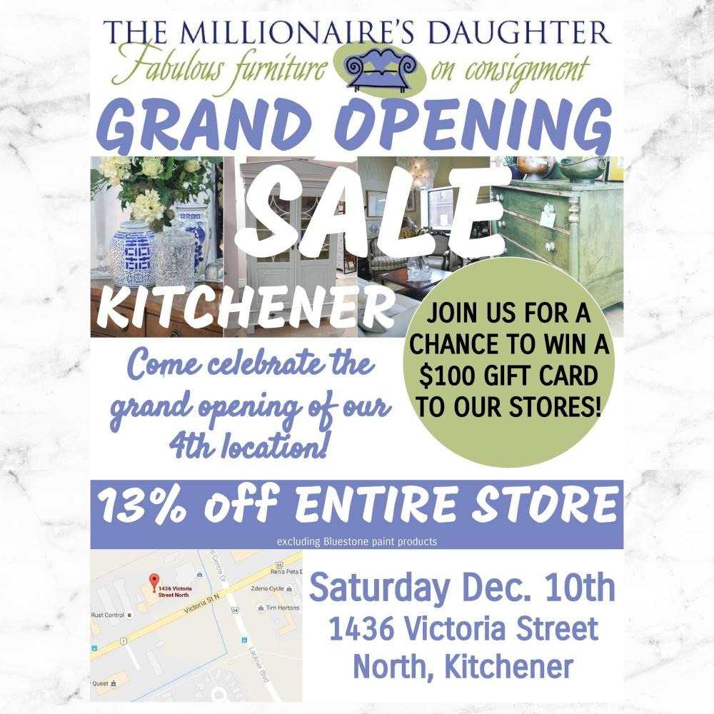 13 Off Kitchener Store Wide Grand Opening Sale Saturday December 10th The Millionaire 39 S Daughter